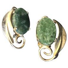 Vintage 12K GF gold filled clip on earrings with green jade gemstones