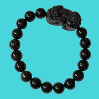 "Vtg. 7"" Black Carved Jade & Black Glass Beads Protective Pi Xiu Stretch Bracelet"