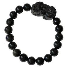 "Vtg. 7"" Black Carved Jade & Black Glass Beads Protective Pi Xiu Stretch Bracelet"