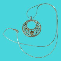 """Ross Simons Two Tone Gold over Sterling Silver Pendant on 24"""" Sterling Chain Necklace"""