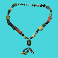 "Vintage 28"" Sterling Silver & Multi Gemstone Necklace"