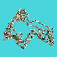 Vintage Extra Long Sterling Silver Necklace Mid 20th Century Creation