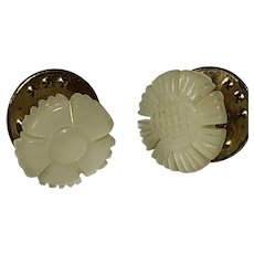 Set of 2 Vintage Small Carved Mother of Pearl Flower Lapel Pins