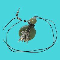 Unique Vintage Natural Jade Pendant Necklace w/ Cat & Mouse Charms