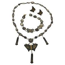 Vintage Asian Damascene Etched Tapestry Butterfly Necklace, Bracelet & Earrings Set