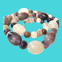 "20"" Purple & White Heavy Jade Bead Necklace with Rose Quartz Chips"