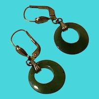 Vintage 14K Gold Plated w/ Jade Hoops Pierced Earrings - Marked W. Germany
