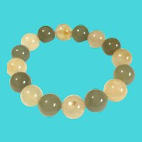 "Vintage Two Tone 8"" Jade Bead Stretch Bracelet"