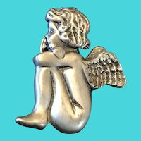 "Vintage 1.25"" LCD Silver Tone Pewter Child Angel / Cherub Lapel Pin"