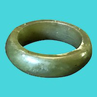 Vintage Hand Carved Size 5.5 Simple Dark Green Jade Band Ring