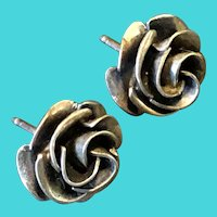 Vintage Sterling Silver TAXCO Rose Stud Earrings