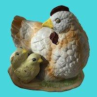 Vintage Ceramic Chicken Hen w/ Baby Chicks - Home Decor