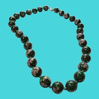 """Vintage 18"""" Chinese Green & Pink Cloisonne Bead Necklace - Sterling Silver Clasp"""