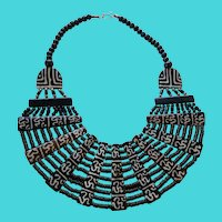 "Vintage 20"" Long Dark Brown Wooden Bead Tribal Inspired Bib / Collar Necklace"