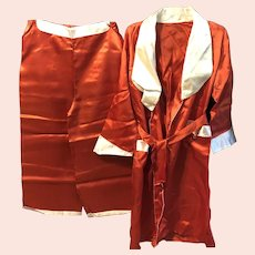 Vintage 1960's Asian Satin 3 piece Pajama Set - Robe, Pants & Slippers