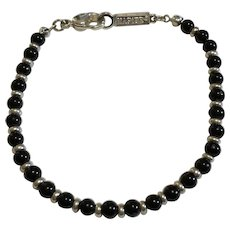 "Vintage Napier 7.5"" Black & Silver Tone Skinny Bead Bracelet"