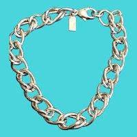 """Vintage MONET 7.25"""" Silver Tone Charm Bracelet Chain"""