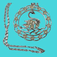 """Vintage 16"""" Silver Tone Chain Necklace w/ Large Swan Pendant - Marked GERMANY"""