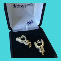 Vintage Montana Silversmiths Western Spurs Pierced Two Tone Rhinestone Earrings