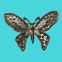 """Vintage Sarah Coventry Silver Tone Butterfly Brooch / Pin 1.75"""" X 2.5"""""""