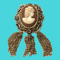 Vintage Gold Tone Brass With White On Rec Glass Cameo Brooch With Tassels