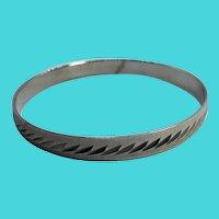 """MONET Silver Tone Size Large 8"""" Bangle Bracelet"""