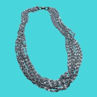 """Vintage Sarah Coventry 16"""" Multi-Strand Silver Tone Lightweight Chain Necklace"""