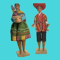 "Set of 2 Vintage Peruvian Folk Art Yarn Wrapped  8"" Dolls"