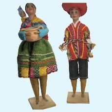 "Set of 2 Vintage Peruvian Folk Art Yarn Wrapped  8"" Dolls"