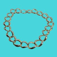 "Vintage Chunky Gold Tone Linked Chain 18"" Necklace - KOREA"