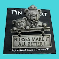 "Vintage Pin Art JJ Pewter Teddy Bear ""Nurses Make It All Better"" Brooch / Pin"