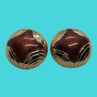 Stunning Chunky Vintage BLANCA Gold Tone Clip On Dome Statement Earrings