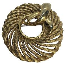 Vintage Mid Century Gold Tone Ornate Wreath / Circle Brooch / Pin