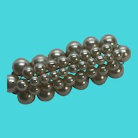 Vintage Faux Pearl Cluster Bar Brooch / Pin