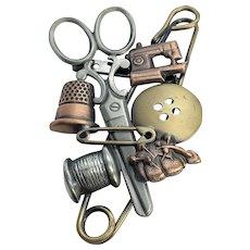 Vintage Multi Metal Copper, Brass, Silver Tone Sewing Seamstress Brooch / Pin