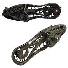 Set of 2 Antique Vintage Victorian Sterling Silver Shoe / Slipper Pins / Brooch
