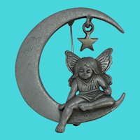 Vintage Pewter Jonette Jewelry JJ Angel Sitting on the Moon Brooch / Pin