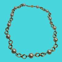 """Napier 16"""" Vintage Gold Tone & Faux Pearl Necklace"""