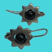 Vintage .925 CL Thailand Sterling Silver & Onyx Sunburst Drop Earrings