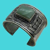Vintage Silver Tone Aventurine Gemstone Ornate Thick Cuff Bracelet