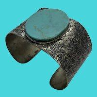Alpaca Mexico Vintage Silver Heart Engraved Turquoise Gemstone Cuff Bracelet