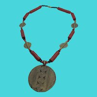 Amazing Vintage Brass & Heishi Disc Concentric Circle Medallion Necklace
