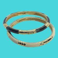 """Set of 2 7"""" Vintage Skinny Gold Tone & Enamel Clamper Hinge Bracelets"""