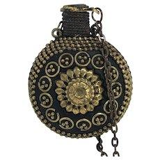 Amazing Antique Perfume / Fragrance Bottle Pendant Necklace on Brass Chain