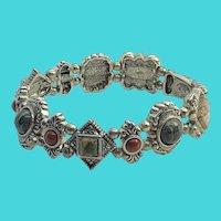 Premier Designs Fun Vintage Silver Tone & Gemstone Link Bracelet