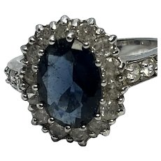Sterling Silver Cocktail Ring Size 9 w/ Large Faux Sapphire & Faux Diamonds