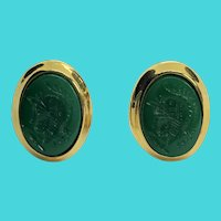 Kenneth Lane Vintage Gold Tone Green Glass Cameo Clip On Earrings