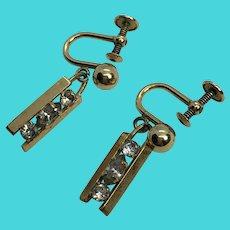WRE Richards 12K Yellow Gold Filled Screw Back Rhinestone Dangle Earrings