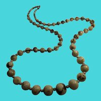 "30"" Vintage Tribal Graduated Bone Bead Necklace"