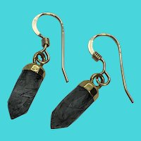 14K Yellow Gold Filled Vintage Hook Earrings w/ Gray Quartz Crystal Dangles